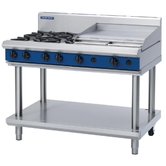 Blue Seal Evolution G518B/LS Gas Cooktop 4 Open/ 1 Griddle Burner on Stand
