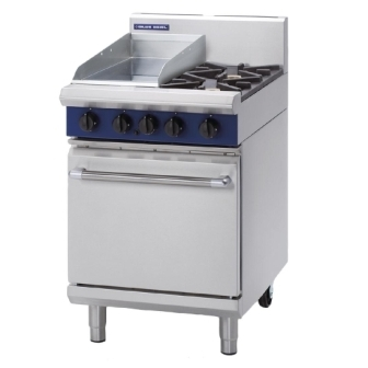 Blue Seal Evolution G504C Gas 2 Burner/Ribbed Griddle Static Oven 600mm