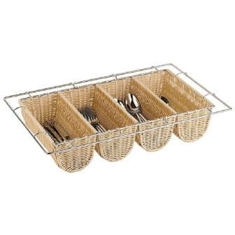 Cutlery Dispenser Rattan Basket Wire Chrome Frame 4 compartment - 100x325x530mm
