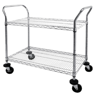 Vogue 2 tier Chrome Wire Trolley - 910x457x960mm