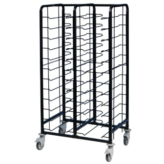 EAIS Powder Coated Enamel Clearing Trolley - 24 Tray Capacity