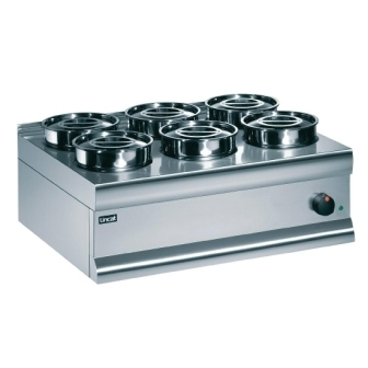 Lincat BS7 Bain Marie - 6x Stainless Steel Round Pots (Dry Heat)