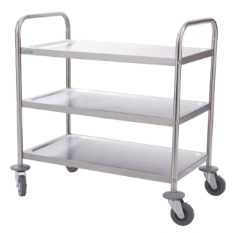 Vogue 3 Tier Flat Pack Trolley St/St - 710Lx405Wx810mmH
