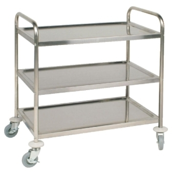 Vogue 3 Tier Flat Pack Trolley St/St - 855Lx535Wx940mmH