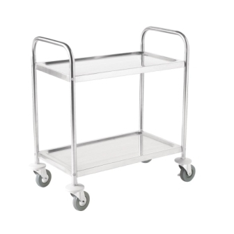 Vogue 2 Tier Flat Pack Trolley St/St - 855Lx535Wx940mmH