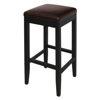 Bolero Faux Leather High Bar Stools  - Dark Brown (Pack of 2)