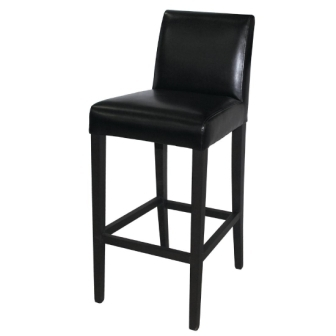 Bolero Faux Leather High Bar Stools with Back Rest - Black