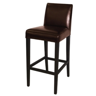 Bolero Faux Leather High Bar Stools with Back Rest - Dark Brown