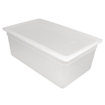Vogue Polypropylene GN Pan 1/1 with Lid 200mm (H) 25.6Ltr (Pack 2)