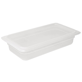 Vogue Polypropylene GN Pan 1/3 with Lid - 100mm (H) 3.6Ltr (Pack 4)
