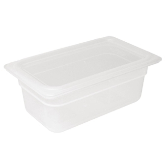 Vogue Polypropylene GN Pan 1/4 with Lid 100mm (H) 2.5Ltr (Pack 4)