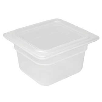 Vogue Polypropylene GN Pan 1/6 with Lid - 100mm (H) 1.5Ltr (Pack 4)