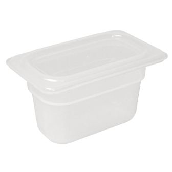 Vogue Polypropylene GN - 1/9 with Lid 100mm (H) 0.85Ltr (Pack 4)