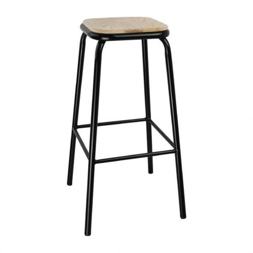 Bolero Black High Stool with Wooden Seatpad (Pack 4)